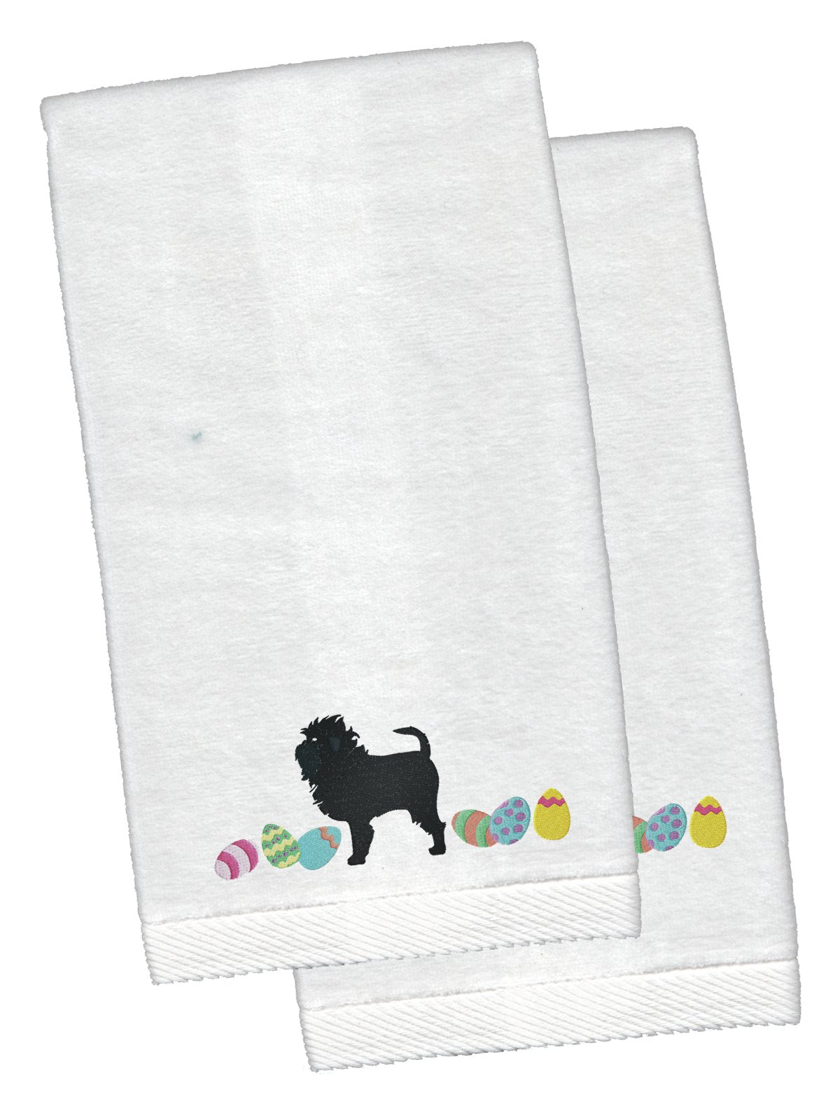 Buy this Affenpinscher Easter White Embroidered Plush Hand Towel Set of 2 CK1591KTEMB