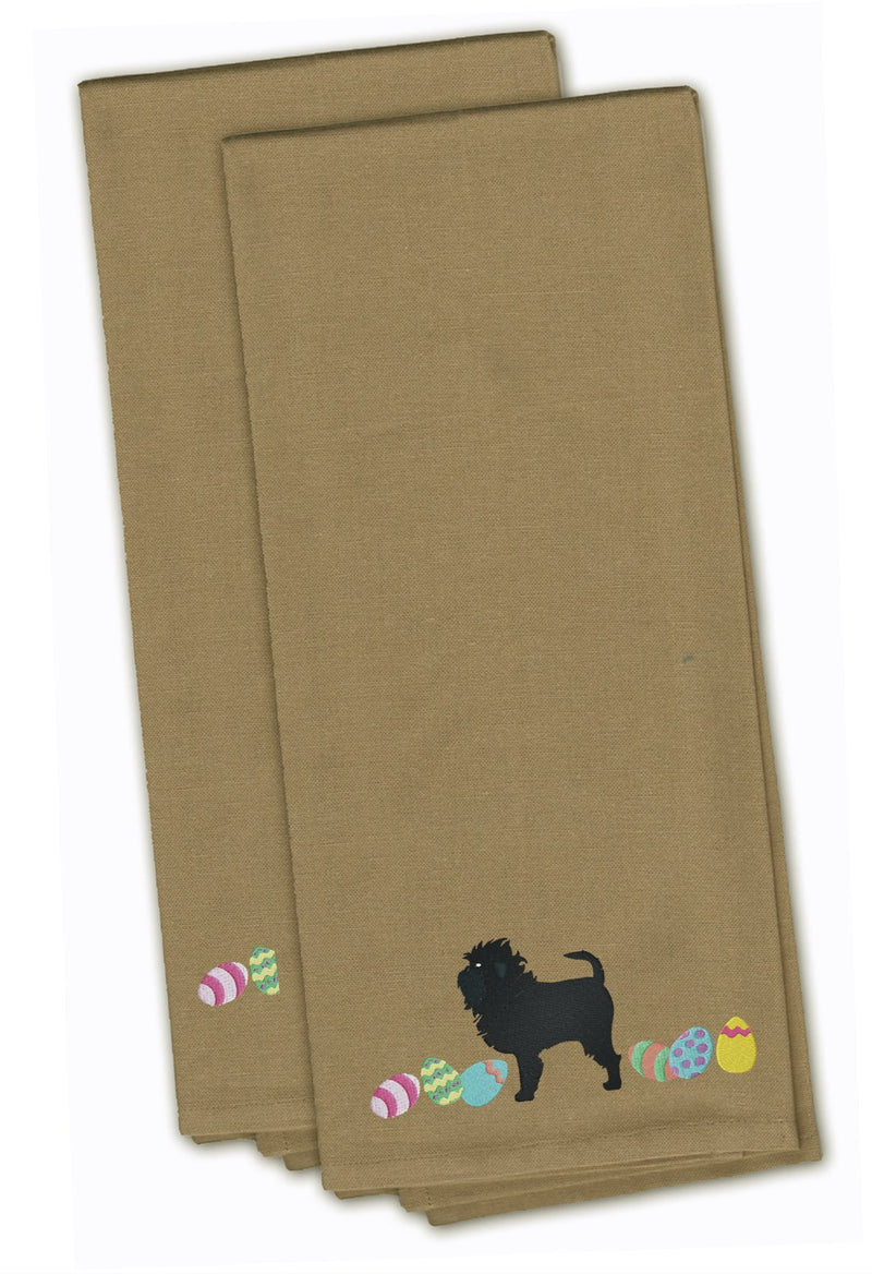 Buy this Affenpinscher Easter Tan Embroidered Kitchen Towel Set of 2 CK1591TNTWE