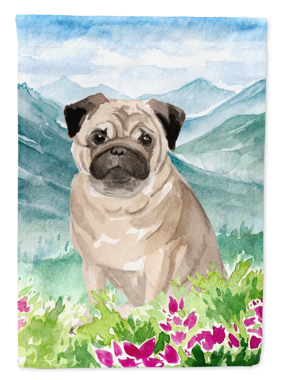 Buy this Mountian Flowers Fawn Pug Flag Garden Size CK1969GF