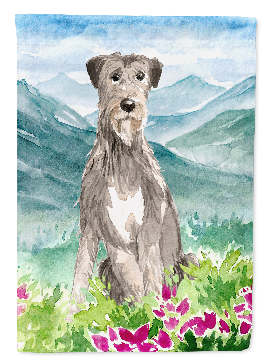 Buy this Mountain Flowers Irish Wolfhound Flag Canvas House Size CK2534CHF