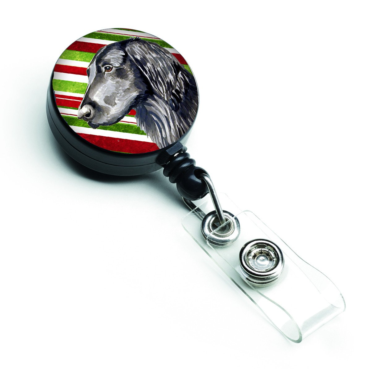 Buy this Flat Coated Retriever Candy Cane Holiday Christmas Retractable Badge Reel LH9231BR