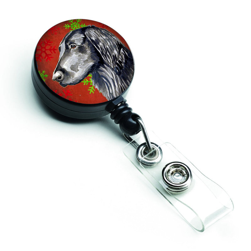 Buy this Flat Coated Retriever Red  Green Snowflakes Holiday Christmas Retractable Badge Reel LH9321BR