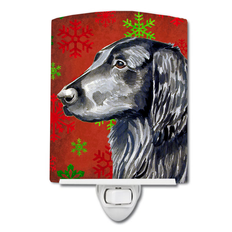 Buy this Flat Coated Retriever Red  Green Snowflakes Holiday Christmas Ceramic Night Light LH9321CNL