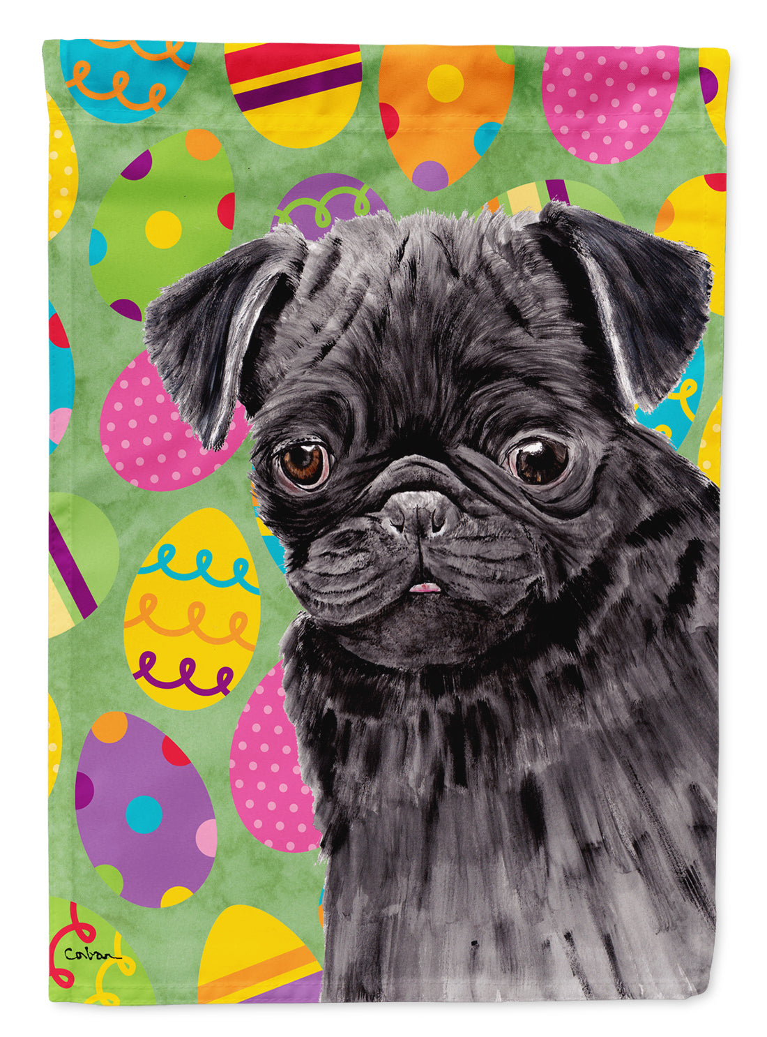 Buy this Pug Easter Eggtravaganza Flag Garden Size