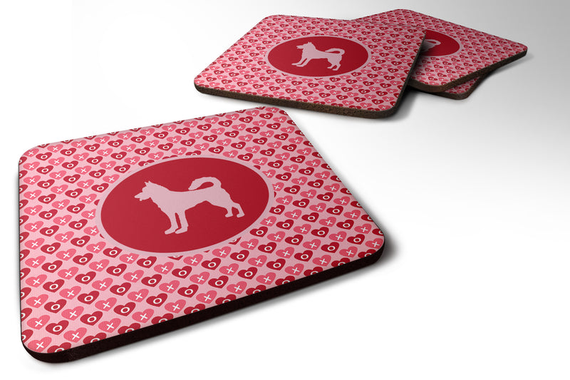 Buy this Set of 4 Canaan Dog  Valentine Hearts Foam Coasters