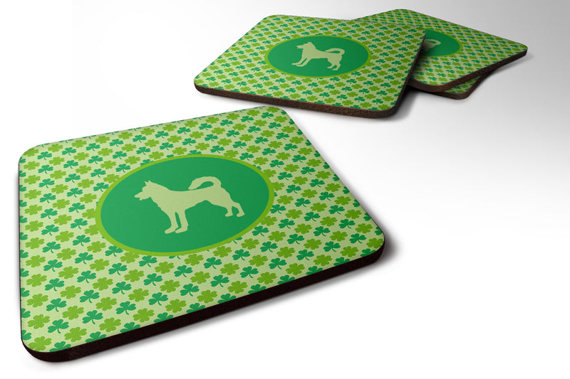 Buy this Set of 4 Canaan Dog  Lucky Shamrock Foam Coasters