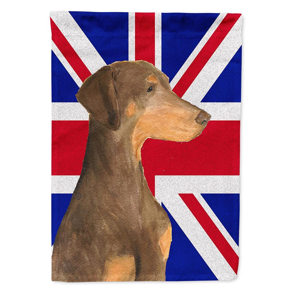 Buy this Doberman Natural Ears with English Union Jack British Flag Flag Garden Size