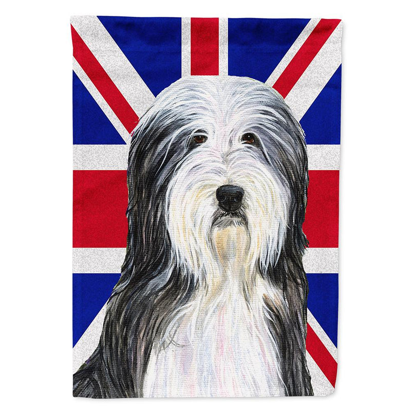 Buy this Bearded Collie with English Union Jack British Flag Flag Garden Size