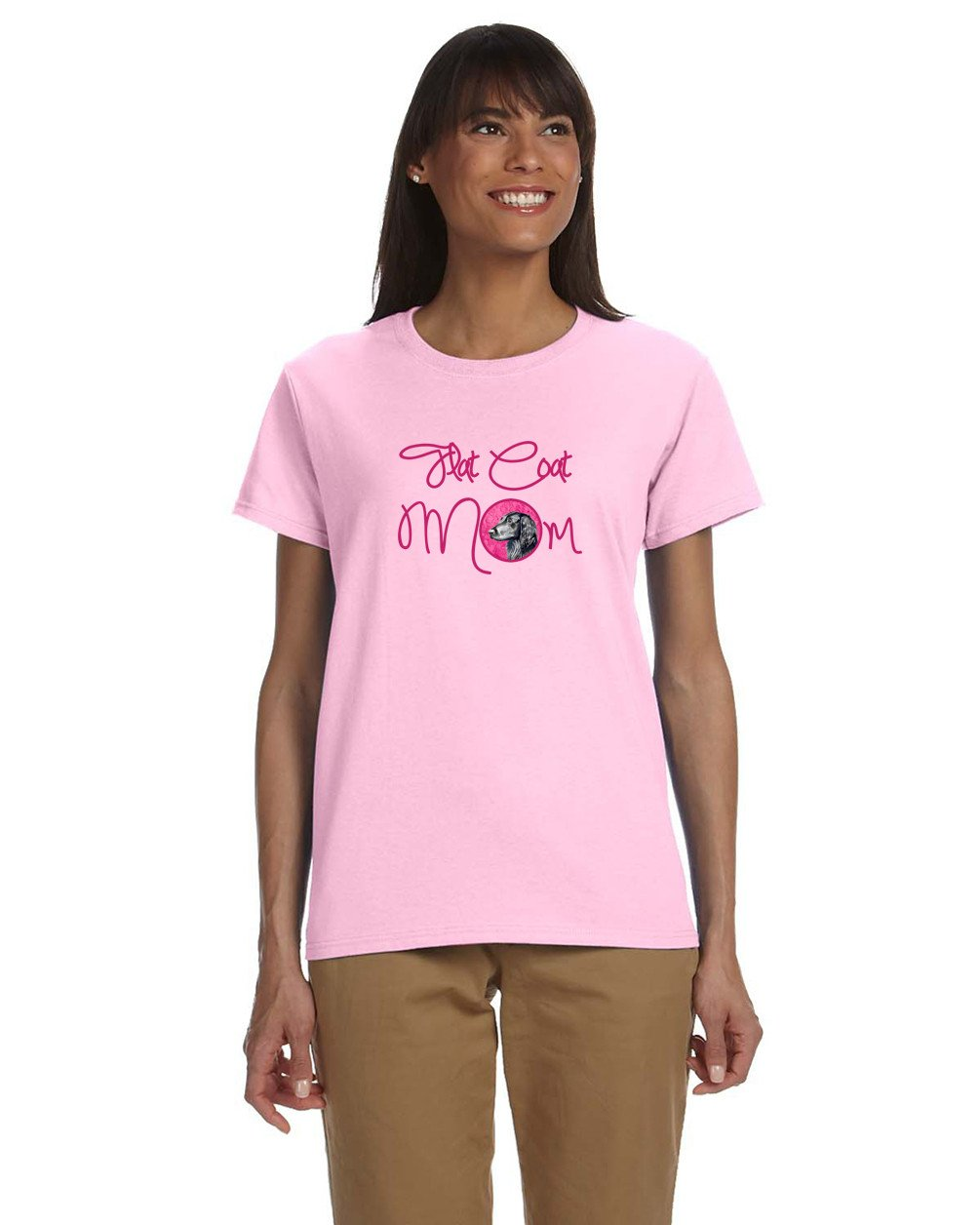 Buy this Pink Flat Coated Retriever Mom T-shirt Ladies Cut Short Sleeve Small