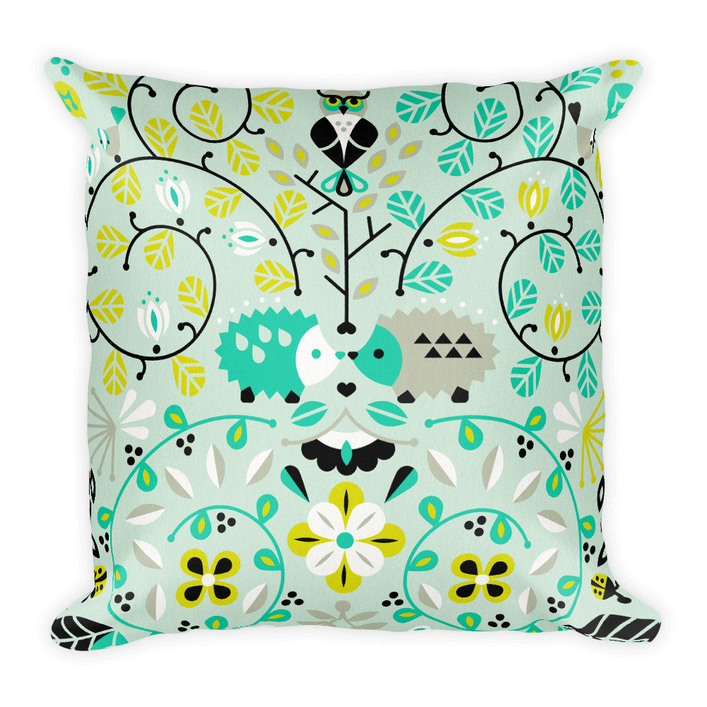 Hedgehog Lovers – Mint Green Palette  •  Square Pillow