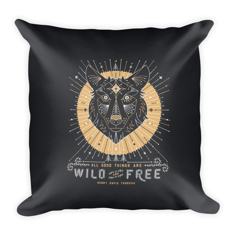 Wild & Free Wolf – Grey & Gold Palette  •  Square Pillow