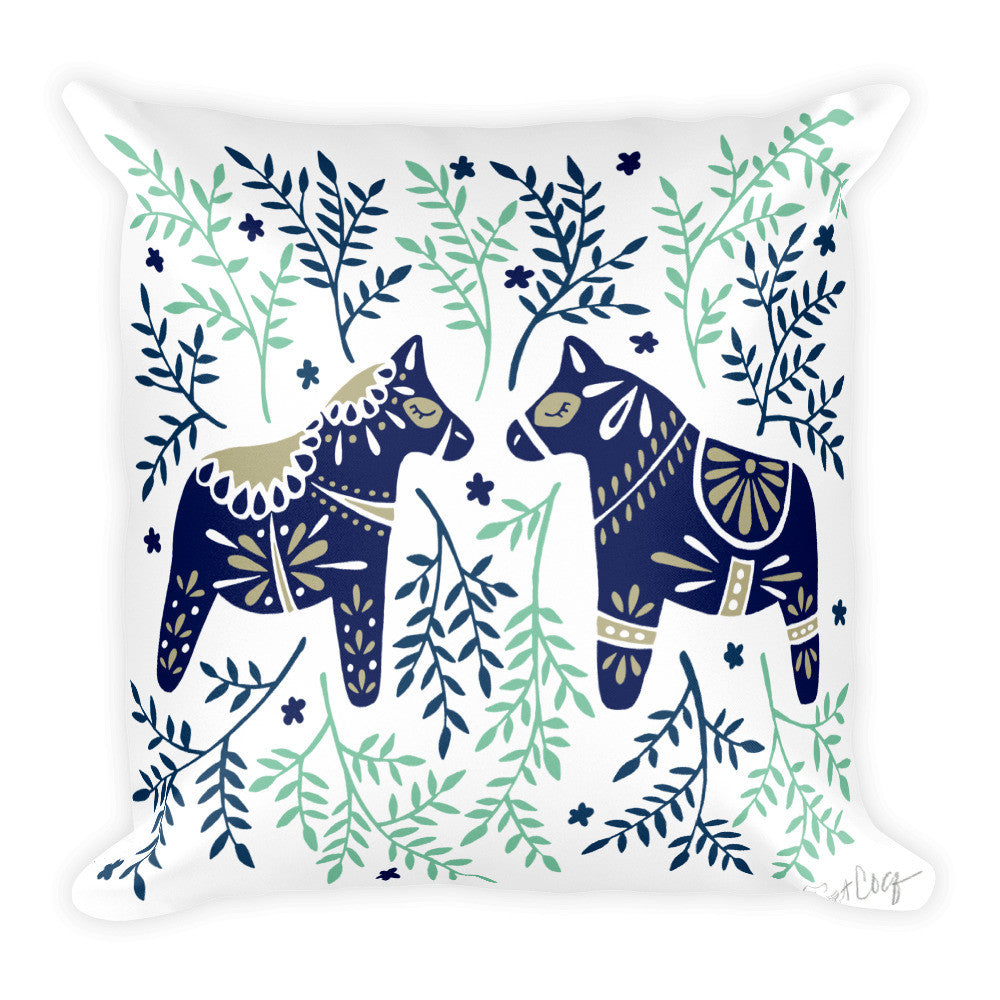 Swedish Dala Horses – Navy & Mint Palette  •  Square Pillow