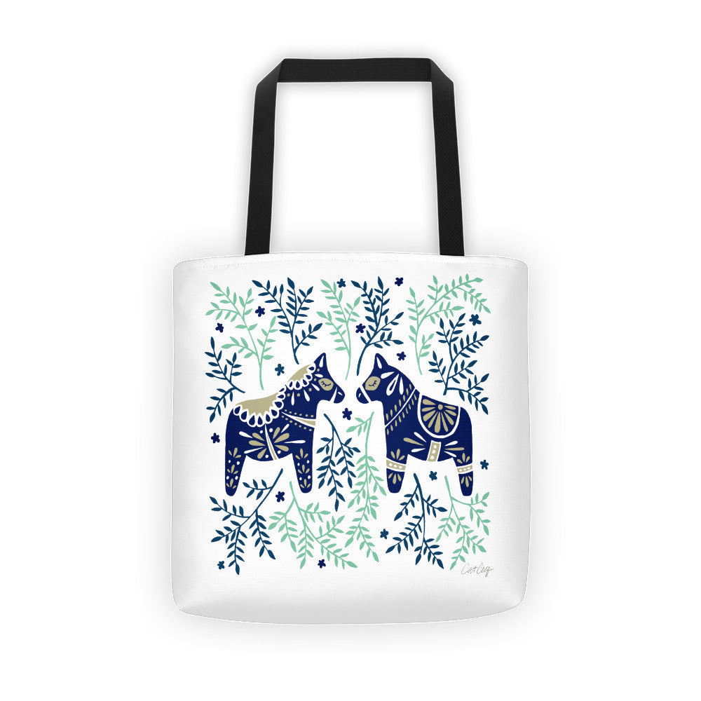 Swedish Dala Horses – Navy & Mint Palette  •  Tote Bag