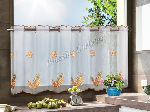 Kitchen Net Curtain Pineapples Pattern - Amazing Curtains