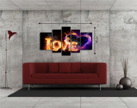 Canvas Picture Panels with Love Pattern - Amazing Curtains