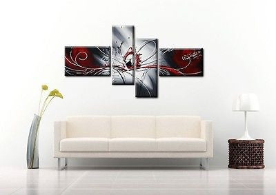Huge Modern Hand Painted Framed Abstract Canvas - Amazing Curtains
