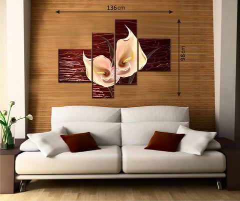 Brown 4pcs Picture Panels with Flowers - Amazing Curtains