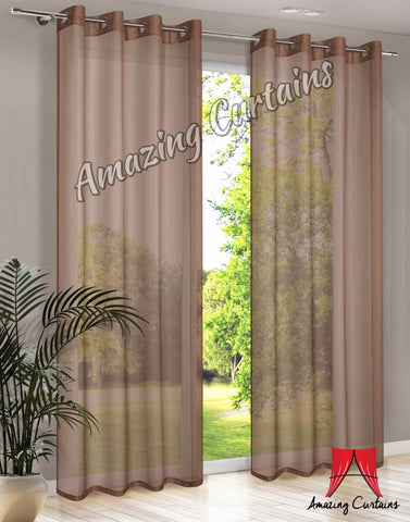 Plain Voile Curtain Panel - Brown - Amazing Curtains