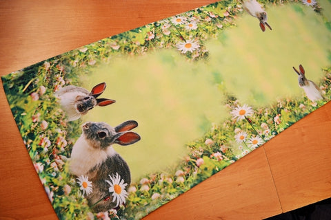 Green Easter Table Runner with Bunnies - 40 x 140cm - Amazing Curtains