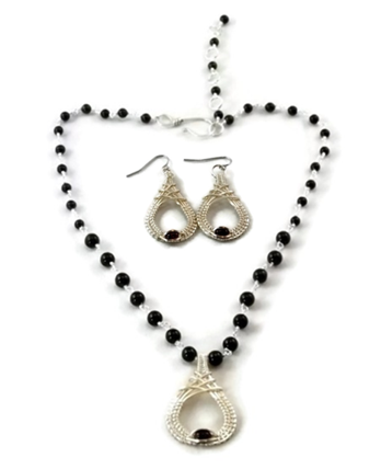 Mini Cutout Drop Earring & Necklace Set - Argentium Sterling Silver