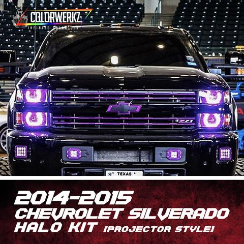 2014-2015 Chevrolet Silverado Color-Chasing Halo Kit (Projector) LED headlight kit  AutoLEDTech Colorwerkz Oracle Starry Night Flashtech