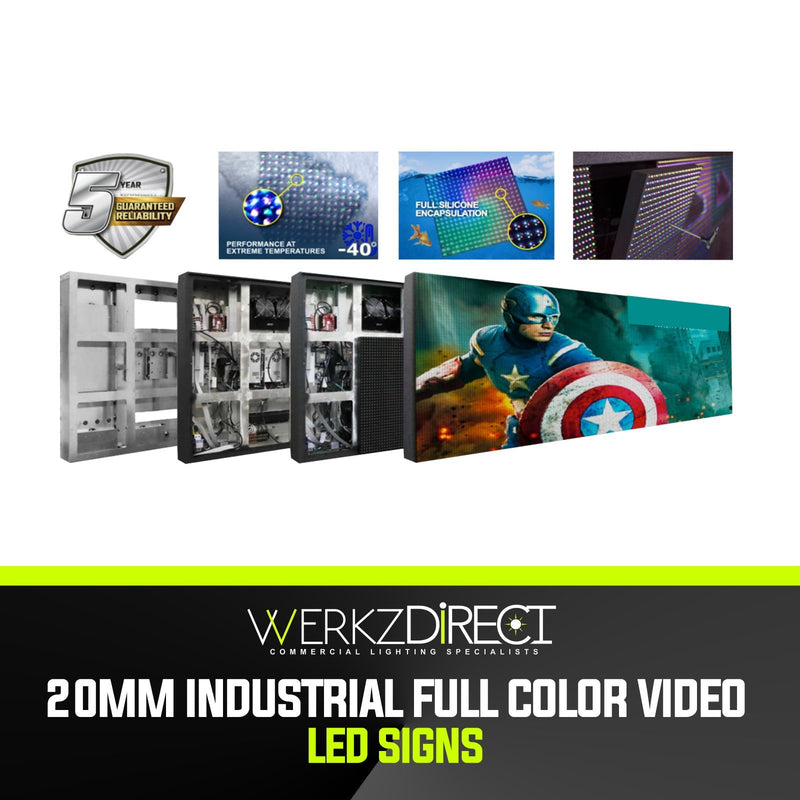Industrial Full Color Video LED Sign with PC Programming - 20mm - PanhandleLEDs Commercial LED lighting