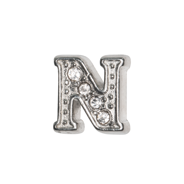 Silver & Crystal Letter N Charm - SPECIAL jewelry - Monty Boy