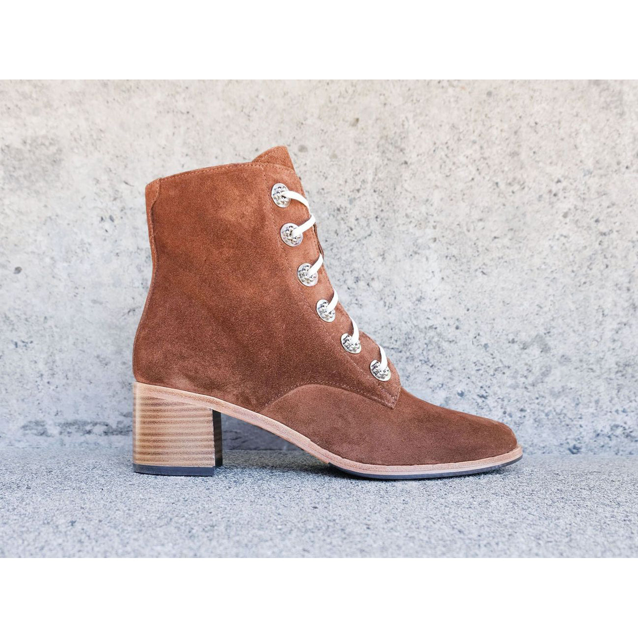 Freda Salvador Ace Lace Up Boot in Brown Suede x Anndra Neen Hardware