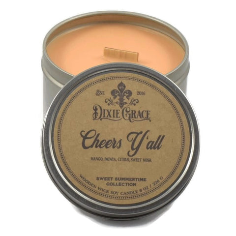 Cheers Y'all! - Tin - Wooden Wick Candle
