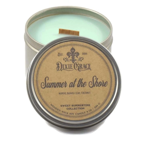 Summer at the Shore - Tin - Wooden Wick Candle