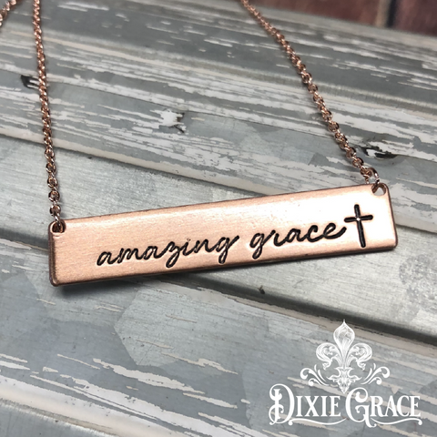 Necklace - Amazing Grace Bar in Rose Gold