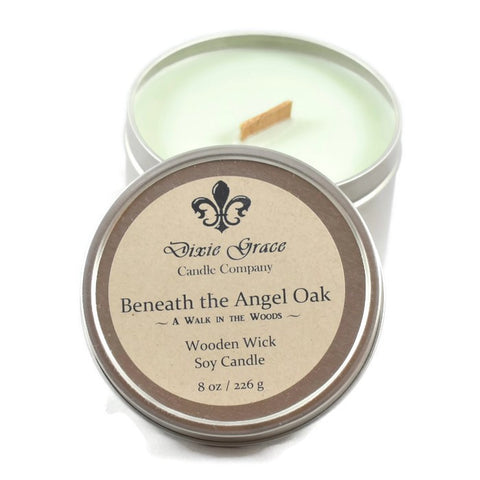 Beneath the Angel Oak - Tin - Wooden Wick Candle