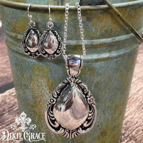 Necklace & Earrings Set - Antique Spoons in Silver