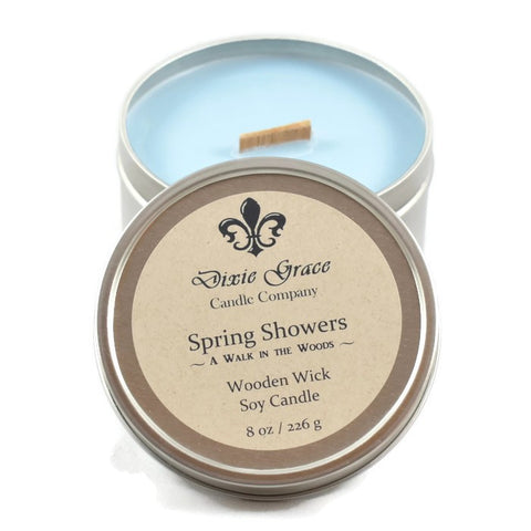 Spring Showers - Tin - Wooden Wick Candle