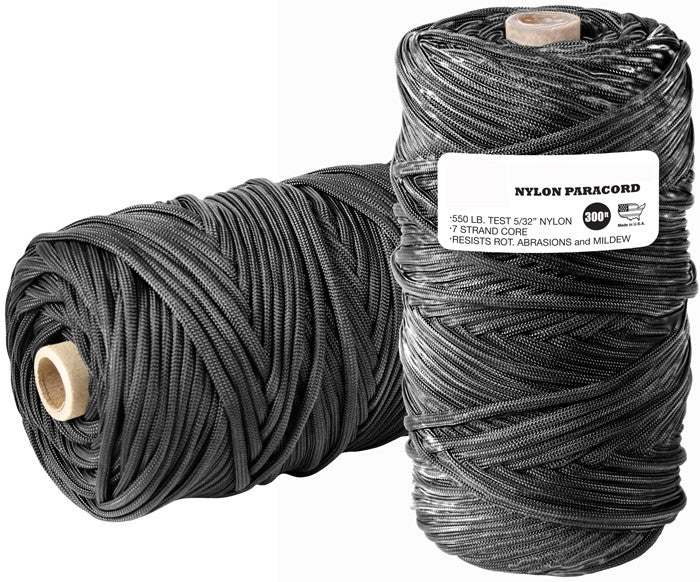 Black - Military Grade 550 LB Tested Type III Paracord Rope 300' - Nylon USA Made