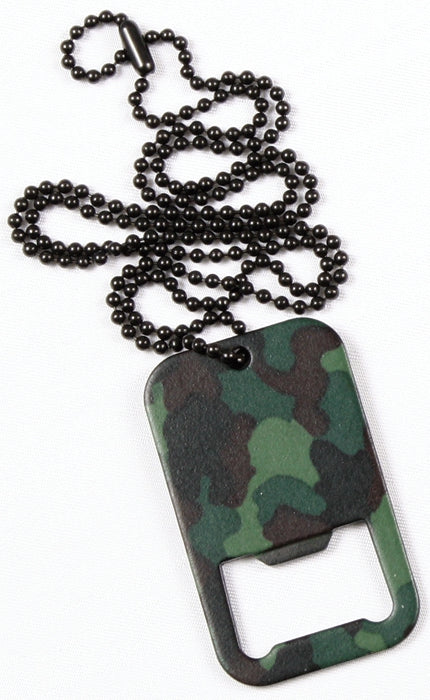 Woodland Camouflage - Military Style Dog Tag Bottle Opener with Chain