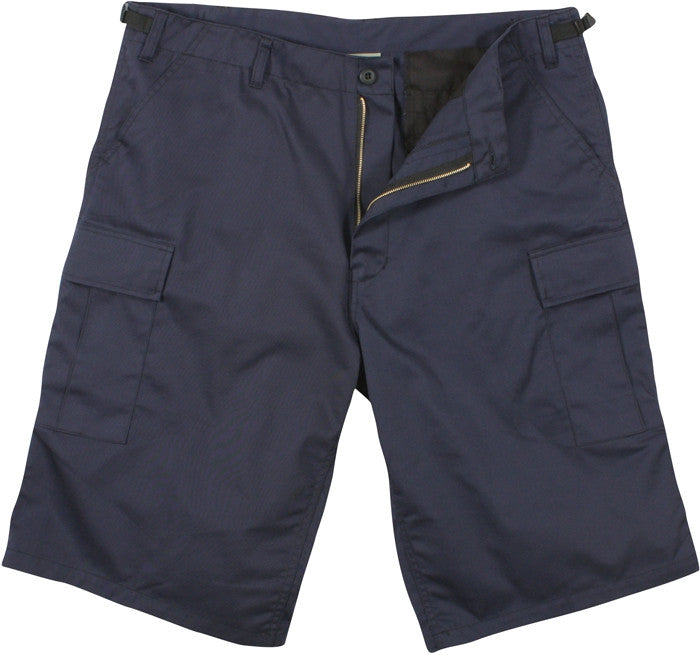 Navy Blue - Military Long Cargo BDU Shorts - Polyester Cotton Twill