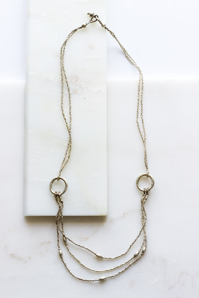 Double Ring Silver Necklace
