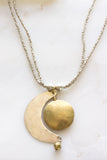 Brass Moon Drop SIlver Necklace