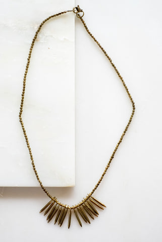 Ebony and Brass Single Strand Choker