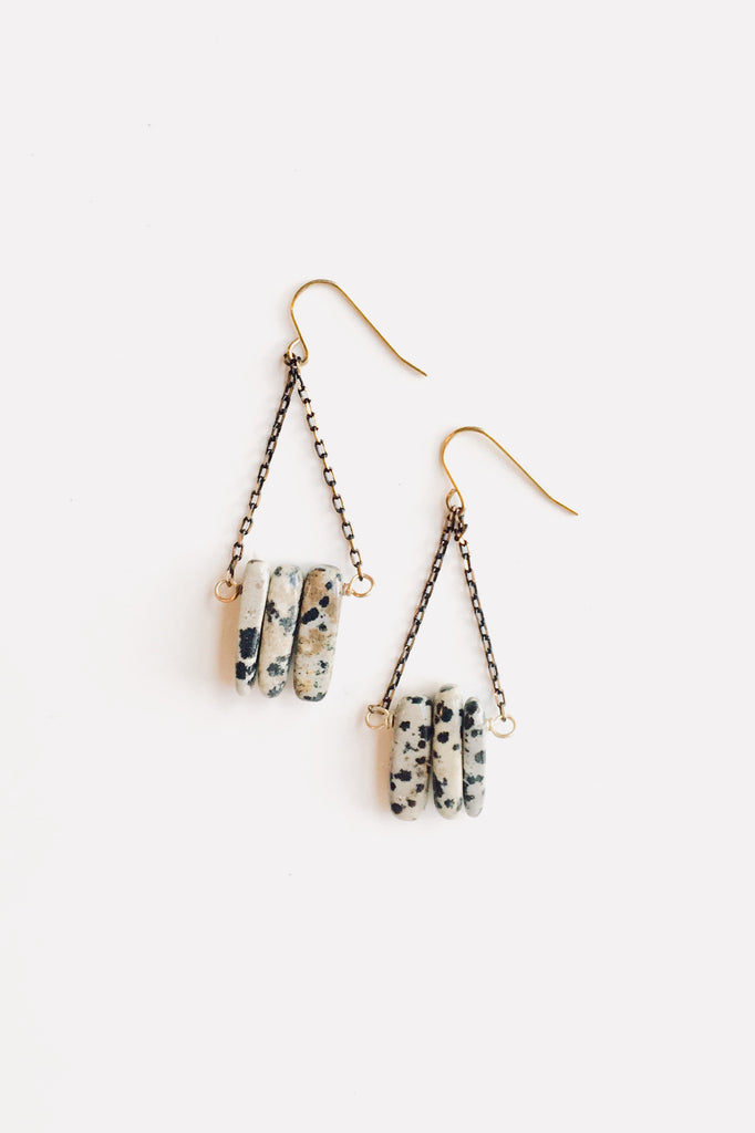 Dalmation Stone Earrings