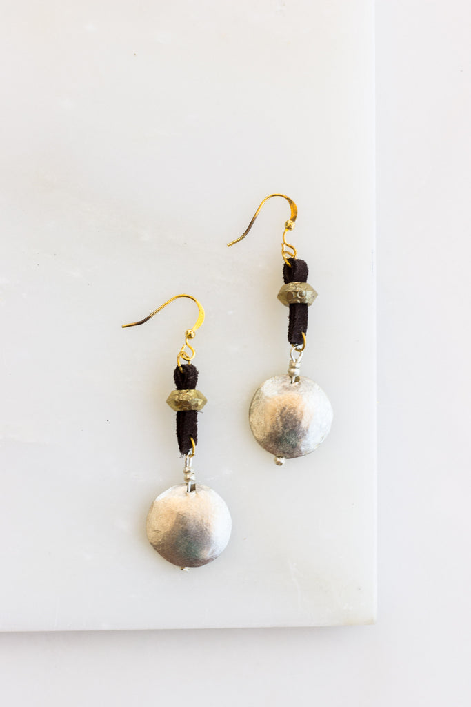 Leather + Silver Disk Earrings