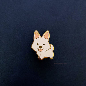 Strider White Dog Enamel Pin