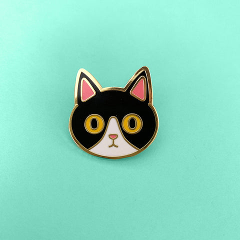 Black cat enamel pin Tuxedo Kitty Black and White cat