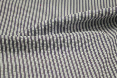 Purple & White Stripe Seersucker Fabric