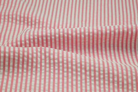 Pink & White Stripe Seersucker Fabric