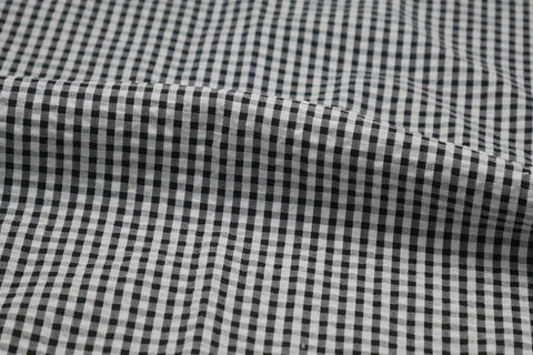 Black & White Check Seersucker Fabric
