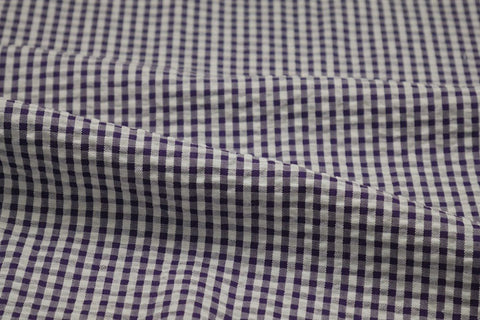 Purple & White Check Seersucker Fabric