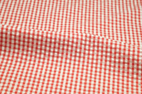 Orange & White Check Seersucker Fabric