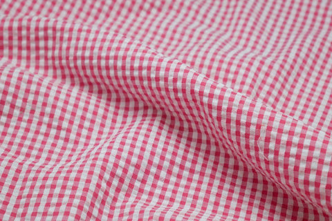 Pink & White Check Seersucker Fabric